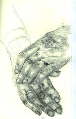 Grandma's hands, graphite on paper, 1994