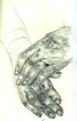 Grandma's hands, graphite on paper, 1994