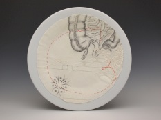 """""""Colon"""", ink, embroidery and cotton on porcelain, 2017"""