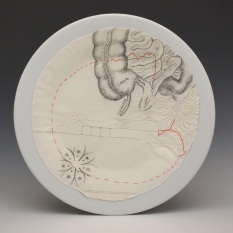 """Colon"", ink, embroidery and cotton on porcelain, 2017"