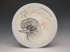 """""""Liver"""", ink, embroidery and cotton on porcelain, 2017"""