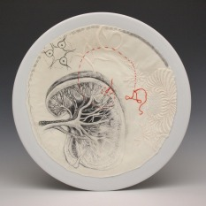 """Liver"", ink, embroidery and cotton on porcelain, 2017"